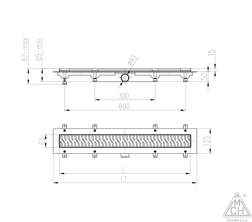 Odtokový žlab s boční výpustí D40 nerez rámečkem (balení bez mřížky)