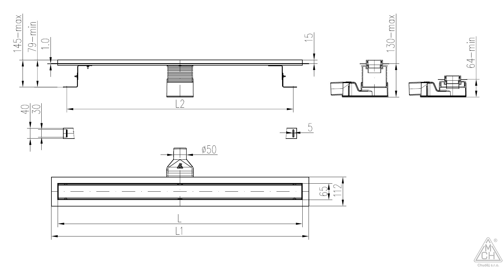 Odtokový žlab celonerezový s výškově stavitelným otočným sifonem D50