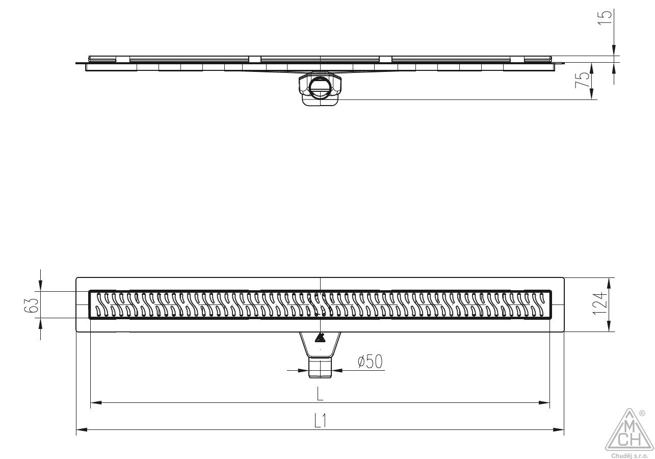 Odtokový žlab s otočným sifonem D50 a nerez rámečkem