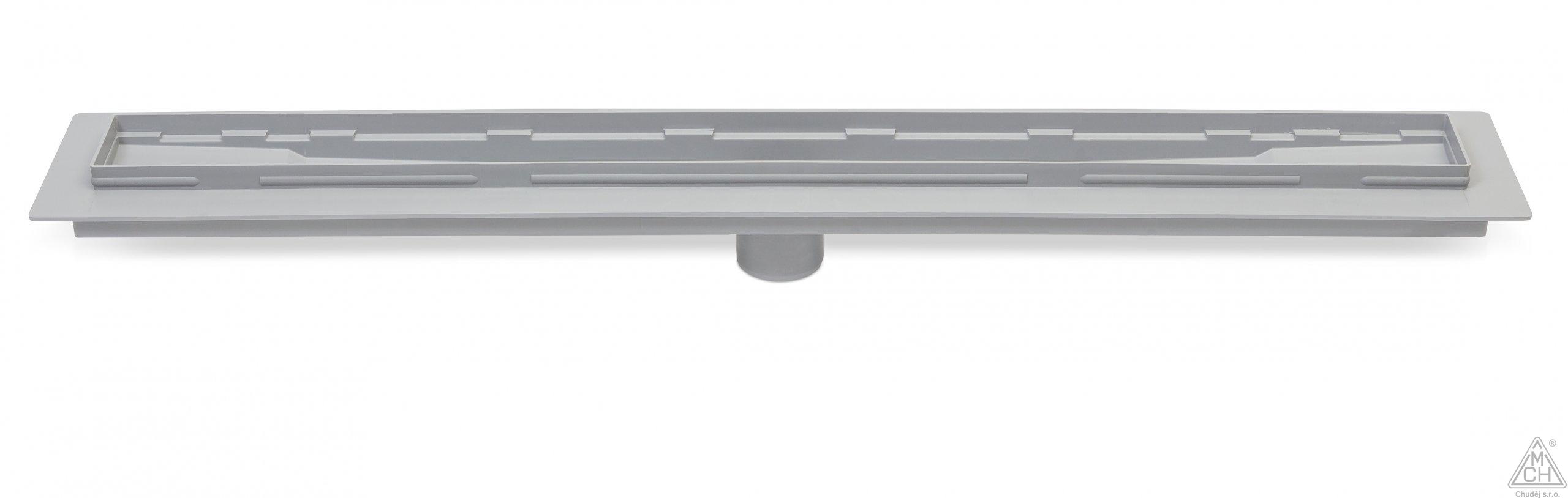 Odtokový žlab se spodní výpustí D50 (balení bez mřížky a sifonu)