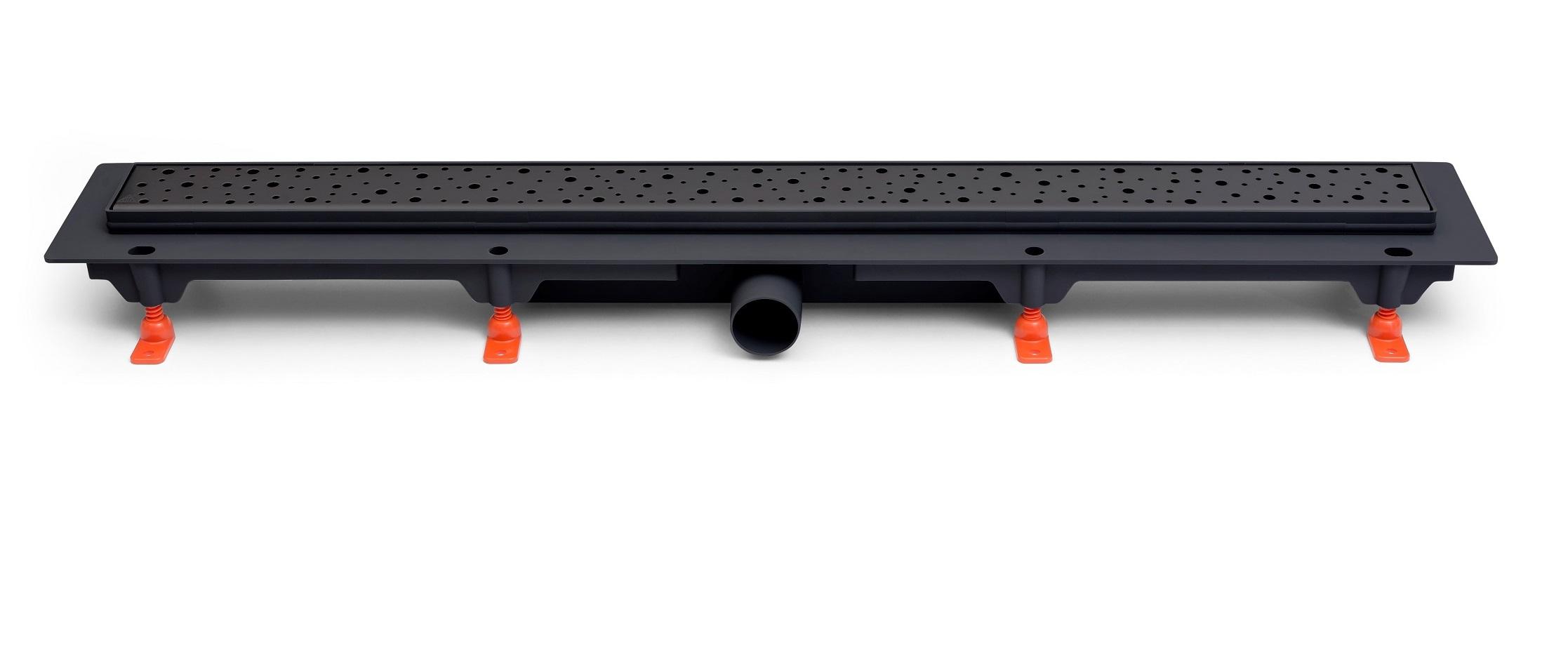 Odtokový žlab černý s boční výpustí D40